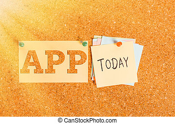 Word writing text App. Business concept for Computer program Download software by a user to a mobile device Corkboard color size paper pin thumbtack tack sheet billboard notice board.
