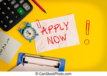 Word writing text Apply Now. Business concept for An act of a demonstrating to acquire the job related to the profession Clock clips crushed note calculator pencil clipboard band color background.