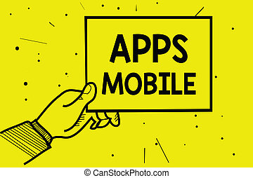 Word writing text Apps Mobile. Business concept for computer program designed to run on phone hand held device Man hand holding paper communicating information dotted yellow background.