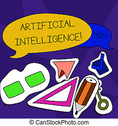 Word writing text Artificial Intelligence. Business concept for perform tasks normally requiring huanalysis intelligence Two Blank Colorful Speech Balloon and Different Labels Sticker Style Icons.
