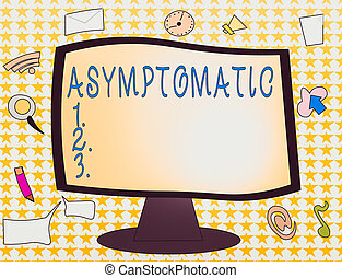Word writing text Asymptomatic. Business photo showcasing a condition or an individual producing or showing no symptoms Web Application Software icons Surrounding Blank Mounted Computer Monitor