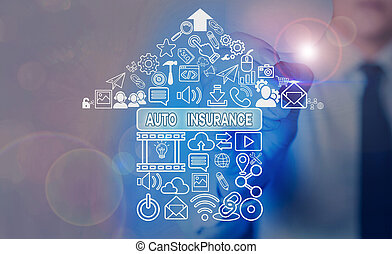 Word writing text Auto Insurance. Business concept for mitigate costs associated with getting into an auto accident.