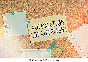 Word writing text Automation Advancement. Business concept for growth use of control systems for operating equipment Corkboard color size paper pin thumbtack tack sheet billboard notice board.