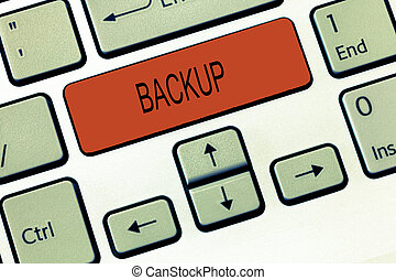 Word writing text Backup. Business concept for Copy of file data made in case original is lost or damaged Support