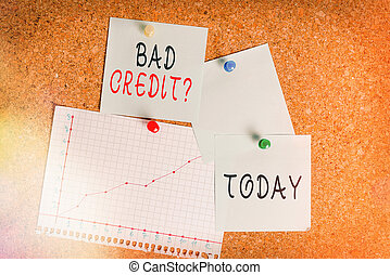 Word writing text Bad Creditquestion. Business concept for inabilityof an individual to repay a debt on time and in full Corkboard color size paper pin thumbtack tack sheet billboard notice board.