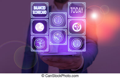 Word writing text Balanced Scorecard. Business concept for a perforanalysisce metric used in strategic analysisment Elements of this image furnished by NASA.
