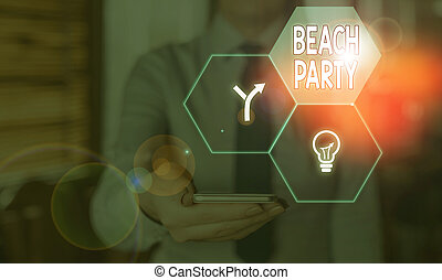 Word writing text Beach Party. Business concept for large group of showing are organizing an event at the beach.