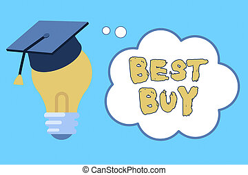 Word writing text Best Buy. Business concept for most advantageous combination of cost and quality of a product 3D Graduation Cap Thinking Resting on Bulb with Blank Cloud Thought Bubble.