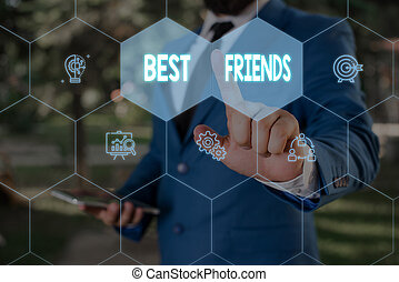 Word writing text Best Friends. Business concept for A ...