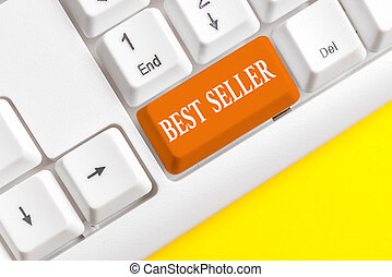 Word writing text Best Seller. Business concept for one feature or the perceived benefit good which makes it unique White pc keyboard with empty note paper above white background key copy space.