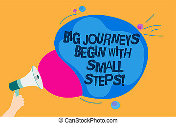 Word writing text Big Journeys Begin With Small Steps. Business concept for One step at a time to reach your goals Man holding Megaphone loudspeaker screaming talk colorful speech bubble.