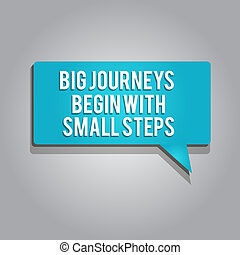 Word writing text Big Journeys Begin With Small Steps. Business concept for Start up a new business venture