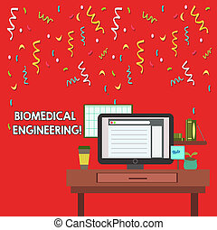 Word writing text Biomedical Engineering. Business concept for advances knowledge biology medicine improves health photo of Interior Working Space Station Concept of Technical Person.