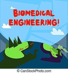 Word writing text Biomedical Engineering. Business concept for advances knowledge biology medicine improves health Mountain View with Marked Hiking Trail and Trekking Tracks for Outdoor Ads.