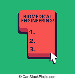 Word writing text Biomedical Engineering. Business concept for advances knowledge biology medicine improves health Direction to Press or Click the Red Keyboard Command Key with Arrow Cursor.