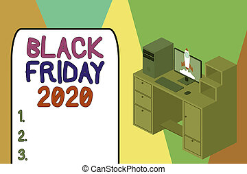 Word writing text Black Friday 2020. Business concept for day following Thanksgiving Discounts Shopping day Working desktop station drawers personal computer launching rocket clouds.
