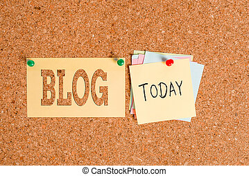 Word writing text Blog. Business concept for regularly updated website web page run by individual Corkboard color size paper pin thumbtack tack sheet billboard notice board.