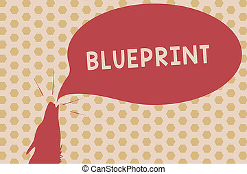 Word writing text Blueprint. Business concept for design plan or other technical drawing by engineers for site Contour shape of Wolf Head Pointing upward Howling Fiercely Speech Bubble.