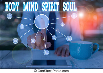 Word writing text Body Mind Spirit Soul. Business concept...