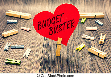 Word writing text Budget Buster. Business concept for Carefree Spending Bargains Unnecessary Purchases Overspending Clothespin holding red paper heart several clothespins wooden floor romance.