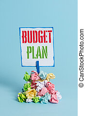 Word writing text Budget Plan. Business concept for financial schedule for a defined period of time usually year Reminder pile colored crumpled paper clothespin reminder blue background.