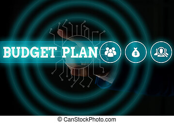 Word writing text Budget Plan. Business concept for financial schedule for a defined period of time usually year Male human wear formal work suit presenting presentation using smart device.