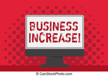 Word writing text Business Increase. Business concept for improving some measure of an enterprise s is success Blank Space Desktop Computer Colorful Monitor Screen Freestanding on Table.