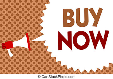 Word writing text Buy Now. Business concept for asking someone to purchase your product Provide good Discount Megaphone loudspeaker speech bubble message orange background halftone.
