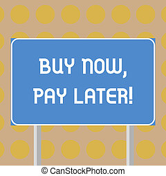 Word writing text Buy Now Pay Later. Business concept for Credit to purchase things payment time after buying Blank Rectangular Outdoor Color Signpost photo with Two leg and Outline.