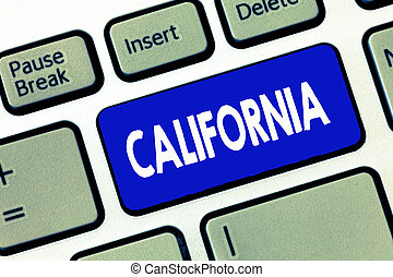 Handwriting text writing california  concept meaning state