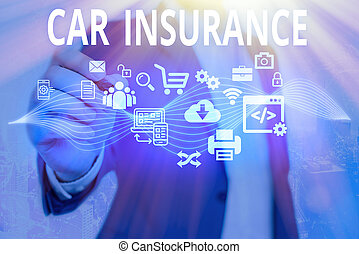 Word writing text Car Insurance. Business concept for Accidents coverage Comprehensive Policy Motor Vehicle Guaranty.