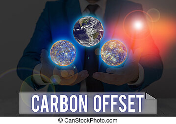Word writing text Carbon Offset. Business concept for Reduction in emissions of carbon dioxide or other gases Elements of this image furnished by NASA.