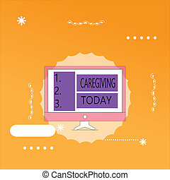 Word writing text Caregiving. Business concept for Act of providing unpaid assistance help aid support Senior care