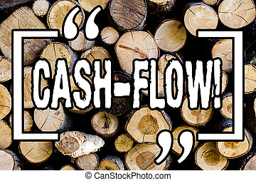 Word writing text Cash Flow. Business concept for Virtual movement of money by company finance department statistics Wooden background vintage wood wild message ideas intentions thoughts.