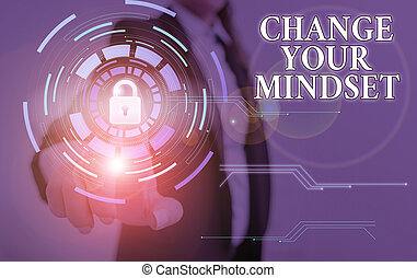 Word writing text Change Your Mindset. Business photo showcasing replace your beliefs way of thinking mental path