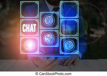 Word writing text Chat. Business concept for take part in a discussion that involves sending messages over internet Elements of this image furnished by NASA.