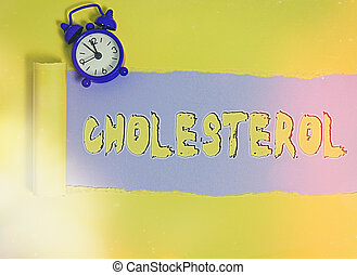 Word writing text Cholesterol. Business concept for compound of the sterol type found in most body tissues Rolled ripped torn cardboard placed above a wooden classic table backdrop.
