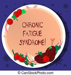 Word writing text Chronic Fatigue Syndrome. Business concept for debilitating disorder described by extreme fatigue Hand Drawn Lamb Chops Herb Spice Cherry Tomatoes on Blank Color Plate.