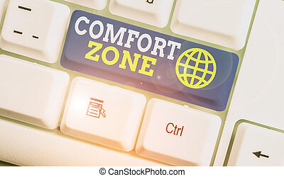 Word writing text Comfort Zone. Business photo showcasing place or situation where one feels safe and without stress