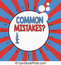 Word writing text Common Mistakes Question. Business concept...