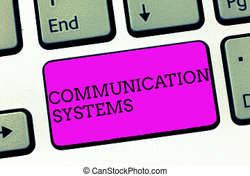 Word writing text Communication Systems. Business concept for Flow of Information use of Machine to transmit signals