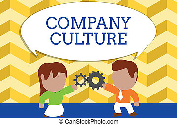 Word writing text Company Culture. Business concept for The environment and elements in which employees work Standing young couple sharing gear. Man tie woman skirt commerce relation.
