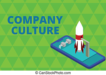 Word writing text Company Culture. Business photo showcasing The environment and elements in which employees work Ready to launch rocket lying smartphone. Startup negotiations to begin