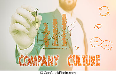 Word writing text Company Culture. Business photo showcasing The environment and elements in which employees work