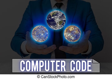 Word writing text Computer Code. Business concept for Set of instructions forming a computer program to execute Elements of this image furnished by NASA.