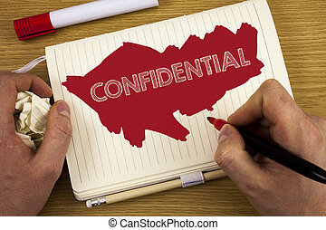 Word writing text Confidential. Business concept for Agreements between two parties are private and protected written by Man on Notebook Book holding Marker on wooden background Pencil.