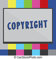 Word writing text Copyright. Business concept for exclusive and assignable legal right given to originator Rectangular Shape Form in half diagonal split two toned shade with Border.