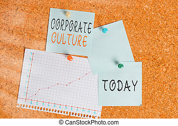 Word writing text Corporate Culture. Business concept for pervasive values and attitudes that characterize a company Corkboard color size paper pin thumbtack tack sheet billboard notice board.