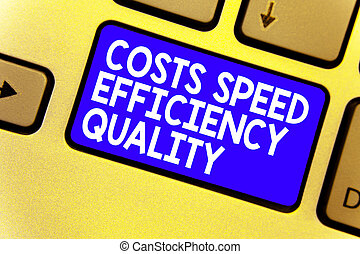 Word writing text Costs Speed Efficiency Quality. Business concept for Efficient operation inputs outputs balance Keyboard blue key Intention create computer computing reflection document.