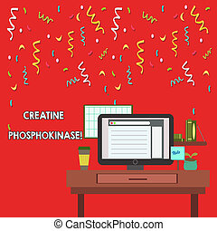 Word writing text Creatine Phosphokinase. Business photo showcasing protein that aids chemical changes in the body photo of Interior Working Space Station Concept of Technical Person